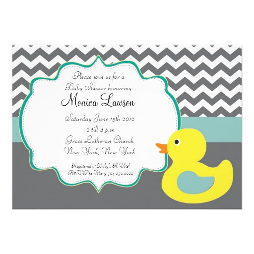 Chevron Ducky Modern Baby Shower Invitation (front side)