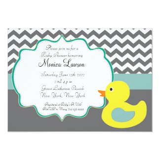 Chevron Ducky Modern Baby Shower Invitation