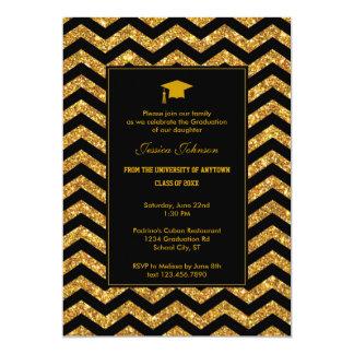 Chevron e invitación de la graduación del brillo invitación 12,7 x 17,8 cm