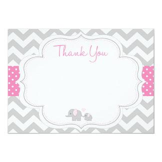 Chevron Elephant Baby Shower Thank You Card