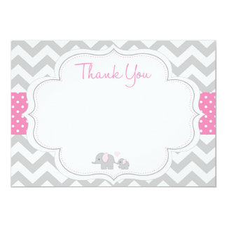 Chevron Elephant Baby Shower Thank You Card