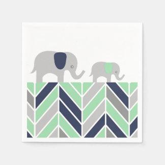 Chevron Elephants Modern Baby Napkin Paper Napkin