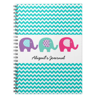 Chevron Elephants on Parade Personalized Notebook