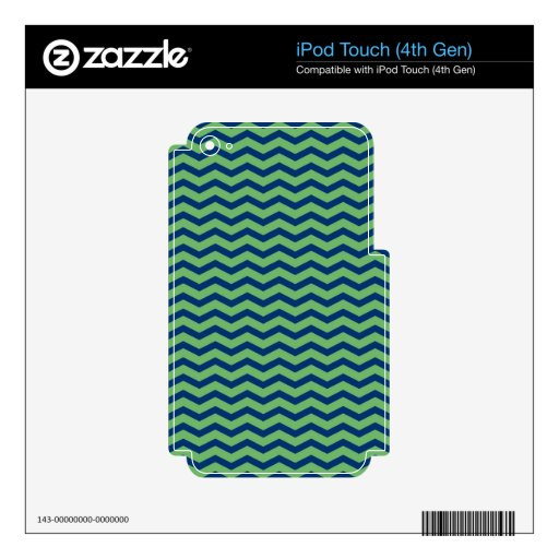 Chevron en azul y verde skins para iPod touch 4G