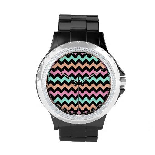Chevron en colores pastel lindo relojes de mano