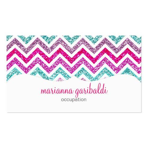 Chevron Faux Glitter Rainbow Coloful Girly Bling Business Card