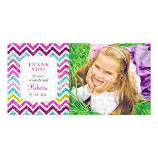 Chevron Faux Glitter Rainbow Thank you Picture Card