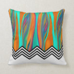 Chevron Flame | aqua orange violet black white Pillows