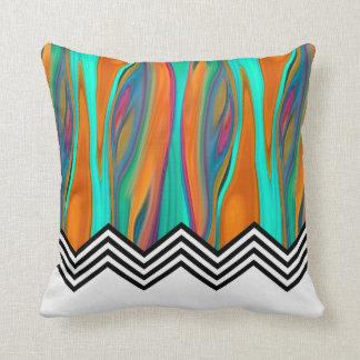 Chevron Flame | aqua orange violet black white Throw Pillow
