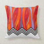 Chevron Flame | red orange blue lilac black white Throw Pillows