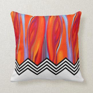 Chevron Flame   red orange blue lilac black white Throw Pillows