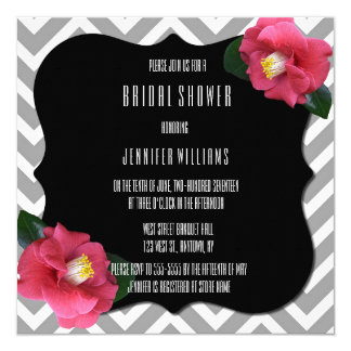 Chevron floral bridal shower invitations