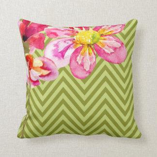 Chevron Floral | celery olive Throw Pillows