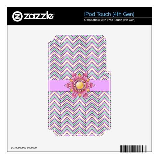 Chevron floral en colores pastel skins para iPod touch 4G