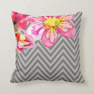 Chevron Floral | grey graphite Pillow