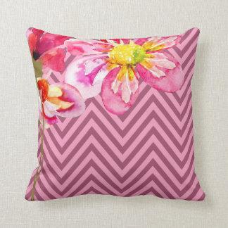 Chevron Floral | mauve pink Pillows