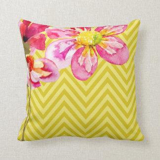 Chevron Floral | mustard yellow Pillow