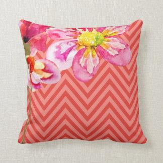 Chevron Floral | peach coral Pillows