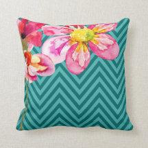 Chevron Floral | teal turquoise Throw Pillow
