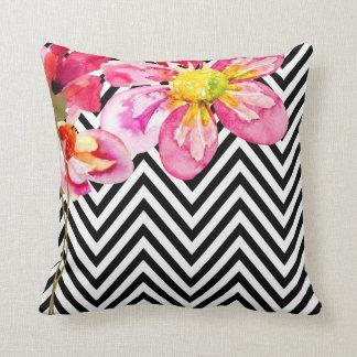 Chevron Floral Watercolor Flowers | black & white Throw Pillow
