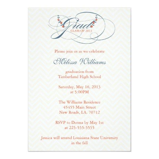 Chevron & Flowers Graduation Card