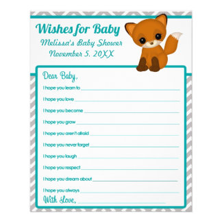 Chevron Fox Baby Shower Wishes for Baby Advice Flyer