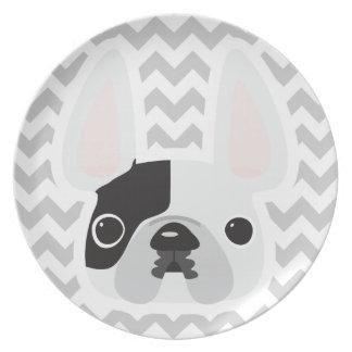 Chevron French Bulldog Plate