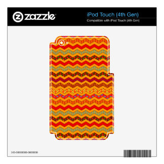Chevron Geometric Designs Color Orange, Red, Blue iPod Touch 4G Decal