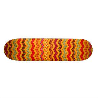 Chevron Geometric Designs Color Orange, Red, Blue Skateboard Deck
