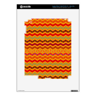 Chevron Geometric Designs Color Orange, Red, Blue Skins For iPad 3