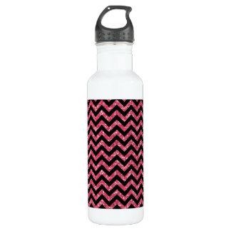 Chevron Glitter Look Stainless Steel Water Bottle