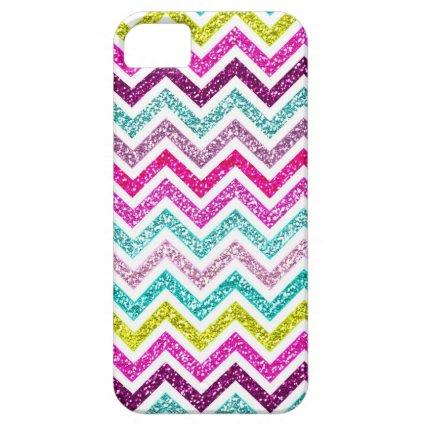 Chevron Glitter Rainbow Coloful Girly Bling iPhone 5 Case