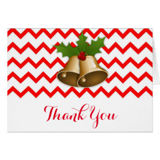 Chevron Gold Bell Christmas Thank You Card