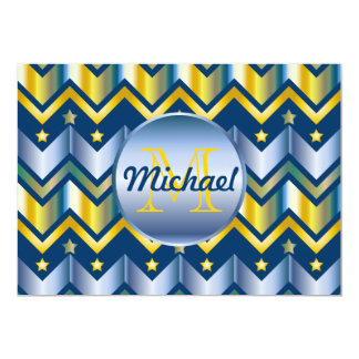 Chevron Gold Blue Metallic Gradation Monogrammed Card