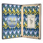 Chevron Gold Blue Metallic Gradation Monogrammed iPad Air Case