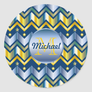 Chevron Gold Blue Metallic Gradation Monogrammed Classic Round Sticker