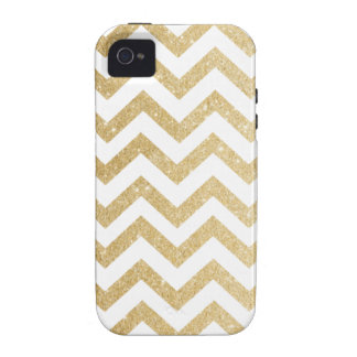 Chevron Gold Faux Glitter Phone Case Case For The iPhone 4