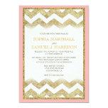 Chevron Gold Glitter Wedding Invitation