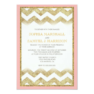 Chevron Gold Glitter Wedding Invitation