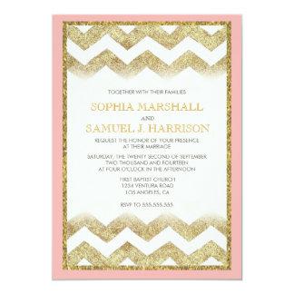 "Chevron Gold Glitter Wedding Invitation 5"" X 7"" Invitation Card"