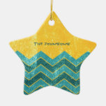 CHEVRON Gold Double-Sided Star Ceramic Christmas Ornament