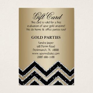 Chevron Gold Party Gift Card Black Glitter
