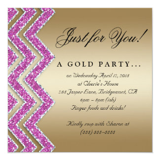 Chevron Gold Party Invite Sparkle Pink Gold
