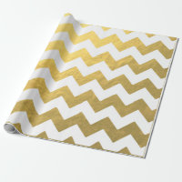Chevron Gold & White Wrapping Paper