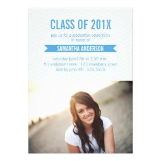 Chevron Graduation Invitation Announcement Blue