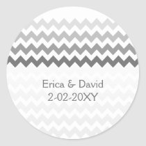 chevron gray Ombre wedding favor stickers