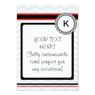 Chevron gray, red and black monogram card