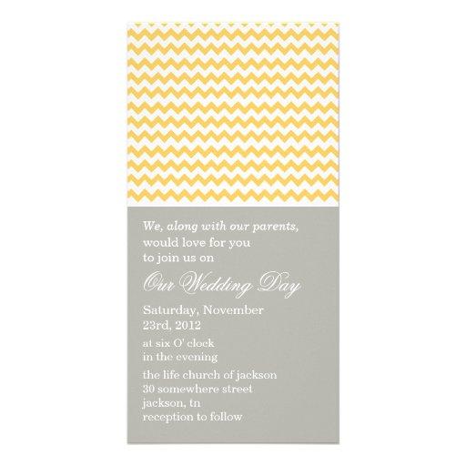 Chevron Gray & Yellow Photo Cards Wedding Invites