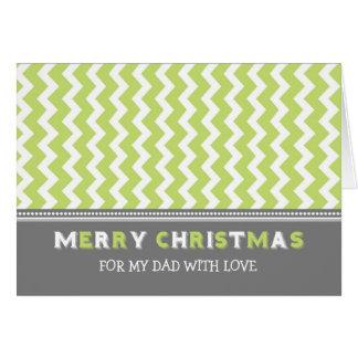 Chevron Green Grey Dad Merry Christmas Card