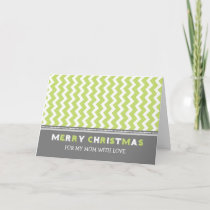 Chevron Green Grey Mom Merry Christmas Card